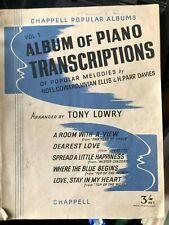 PIANO TRANSCRIPTIONS TONY LOWRY VIVIAN ELLIS, NOEL COWARD, H PARR DAVIES
