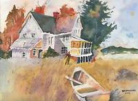 WHITE HOUSE OCEAN COVE ROW BOAT LANDSCAPE FOLK ART PRIMITIVE WATERCOLOR PAINTING