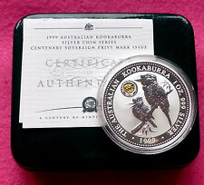 1999 KOOKABURRA SILVER PROOF 1oz SOVEREIGN PRIVY  MARK ONE DOLLAR COIN BOX AND C