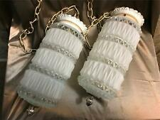 Hollywood Regency MCM vtg double hanging swag light fixture cylindrical ceiling
