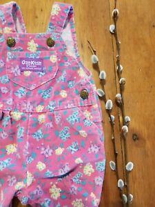 VTG Oshkosh Overalls Footie Sz 3-6 Pink Floral Corduroy Vest Back USA