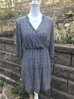 Modcloth Gilli Geometric Blue Faux Wrap Dress Women's S Fit Flare Long Sleeves V