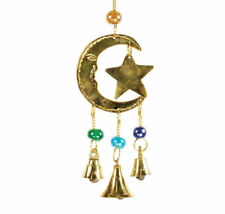 """Crescent Moon & Star Brass Celestial Lunar Wind Chime with Bells & Beads 9"""" Long"""
