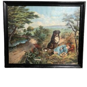 Antique Chromolithograph Print On Guard Girl Child Dog Border Collie Framed 18""