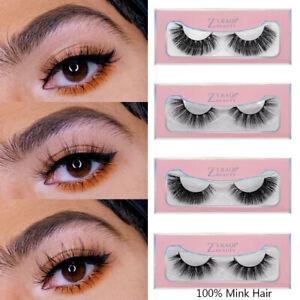 Criss-cross 3D 100% Mink Hair False Eyelashes Eye Lash Extension  Wispy Fluffy