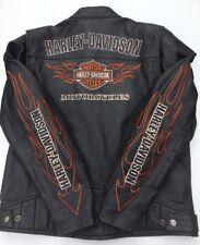 Harley Davidson RIDE READY Leather Jacket Men's Large Black Flames MINT