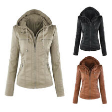 Faux Leather Hood Winter Coats & Jackets for Women | eBay