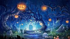 Halloween Pumpkin Vinyl Photography Backdrop Background Studio Prop 5x3ft WSJ324