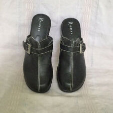 Nickels Black Wedge Heel Slip-Ons With Buckle Womens 10M