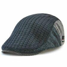Men's Knitted Wool Driving Duckbill Hat Warm Newsboy Flat Scally Cap-Deep Blue