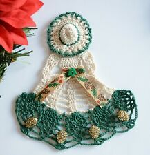 Crinoline Lady Hand Crochet Doily / Natural & DK Green / Fall ~ Winter ~ Outdoor