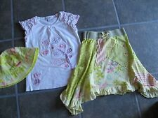 Naartjie Yellow Mixed Print Skirt White Floral Applique Top Sun Hat size 7