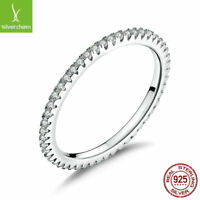 2018 Classic 925 Sterling Silver Circle AAA Clear CZ Ring for women wedding Ring