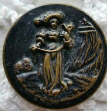 Vintage/Antique Buttons Metal Scene of Woman with a dog Set of 10  4cm