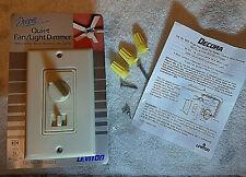 LEVITON DECORA TWO (2) Quiet Fan & Light Dimmer controls # 6620 Ivory