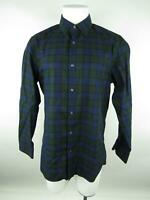 Banana Republic Men L Green Cotton Slim Fit Checkered Pockets Button-Front Shirt