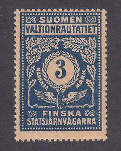 Finland HS 49 var MLH. 1920 3mk Railway Service Stamp