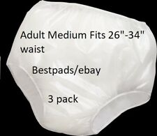 3 pk Reliamed Med. Adult Waterproof Soft Vinyl Plastic Pant Diaper Incontinent