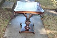 Antique Italian Wood Console Table Leather Top 4 Feather Cut Support Arms