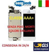 DISPLAY IPHONE 5 ASSEMBLATO COMPLETO -FOTOCAMERA-TASTO HOME- ALTOPARLANTE BIANCO