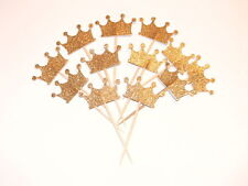 24Pcs Prince&Princess Glitter Crown Cupcake Toppers Wedding Picks BABY SHOWER