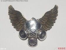 Steampunk brooch badge owl wings DrWho gas mask scientist cyberpunk Harry Potter