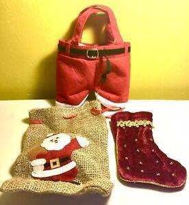 NEW Christmas,decorations,santa,xmas,jute Gift Bag,stocking,novelty,santa