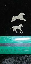 Type Large And Small Two Horse Brooches Silver Diamonte