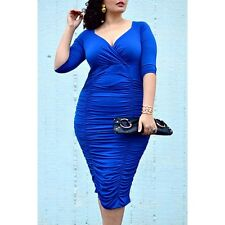Ladies Plus Size XXL 2XL Deep V Neck Half Sleeve Rouched Gathered Blue Dress!