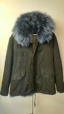MR & MRS ITALY 100% Rabbit Fur Lined Hooded Parka Size L