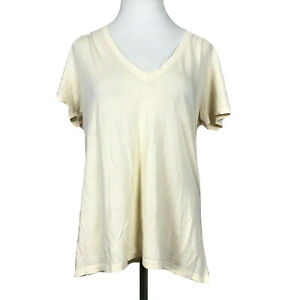 Vince V Neck Tee, Pale Yellow Sz Large