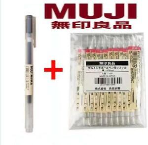 10Pcs Muji Gel Ink Ballpoint Pen Refills Black/Blue/Red 0.38/0.5mm+1pcs Muji pen