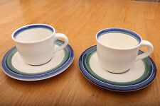 2 Pfaltzgraff China OCEAN BREEZE Cup Saucers- Lot of Two Sets (bas)