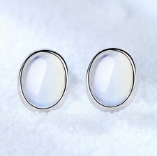 925 Sterling Silver Oval Moon Stone Stud Earrings Womens Girls Jewellery Gift UK