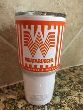 "WHATABURGER (CUSTOM) RAMBLER ""YETI"" TUMBLER 30oz W/stainless Steel Straw!"
