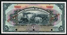 Nicaragua 1945 , 5 Cordobas, Specimen, P93bs, GEM UNC