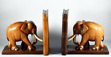 VINTAGE CARVED ELEPHANT BOOKENDS