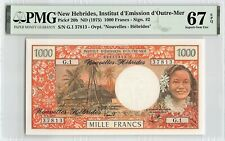 New Hebrides ND (1975) P-20b PMG Superb Gem UNC 67 EPQ 1000 Francs