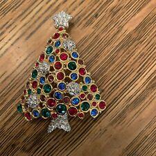 SWAROVSKI MULTI COLORED RHINESTONE CHRISTMAS TREE PIN BROOCH