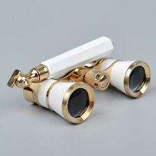 White 3x25 Brass Binocular Optic Lens Opera/theater Telescope W/handle Glasses