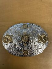 VINTAGE CRUMRINE HEAVY SILVER PLATE ON JEWELERS BRONZE BELT BUCKLE