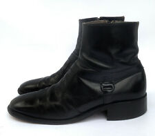 Vintage 70s Sears Easy Flex Black Leather Side Buckle Beatle Ankle Boots 9 D