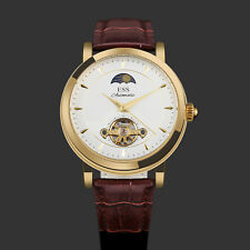 ESS Automatic Men's Watch White Dial Brown Leather Strap Classic Self-winding