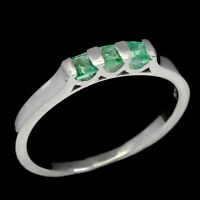 Unheated Square Green Emerald 2.5mm White Gold Plate 925 Sterling Silver Ring