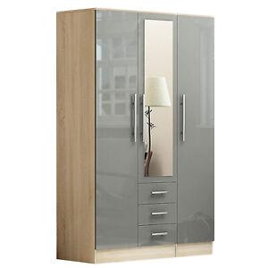 Three Door Three Drawer Mirrored Wardrobe - Grey / Black / White - High Gloss