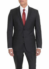 Mens 38R HUGO BOSS The Grand/Central Charcoal Gray Striped Wool Suit