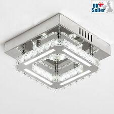 Modern K9 Crystal SQUARE LED Flush Ceiling Light Chandelier 3 Colours 21x21cm