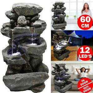 LED Gartenbrunnen Wasserfall 60cm Kaskaden Zier Zimmer Brunnen Wasserspiel XL