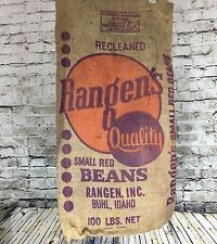 Vintage Burlap Sack Rangen's Quality Rustic Bean Bag Advertising Fabric Upcycle