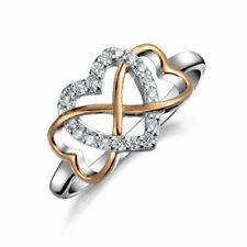 Heart Halo CZ Ring Criss Cross Band Rose Gold Plate Sterling Silver
